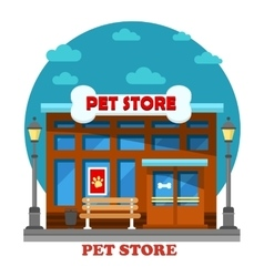 Pet store and shop for animal care building vector image vector image
