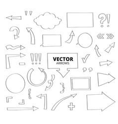 Set of hand drawn arrows pen design elements vector