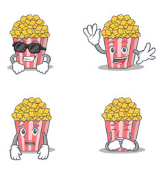 Set of popcorn character with cool waving afraid vector