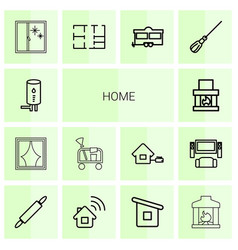 14 home icons vector image