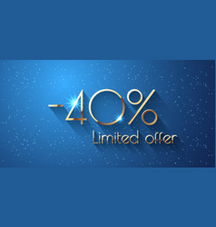 40 percent offer background with golden shining vector