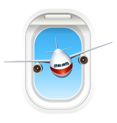 airplane flying through the window vector image