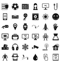 App for life icons set simple style vector