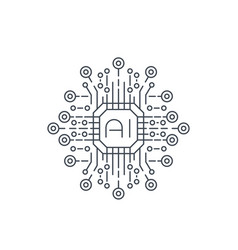 Artificial intelligence ai technology line icon vector