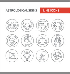 astrological icons line icon simple vector image