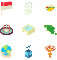 Attractions of Singapore icons set cartoon style vector image