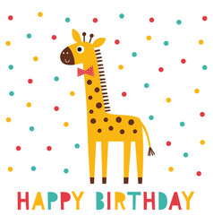 birthday greeting card with a giraffe vector image