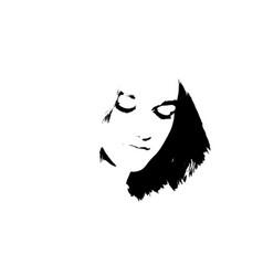 black and white portrait young girl vector image