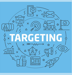 Blue line flat circle targeting vector