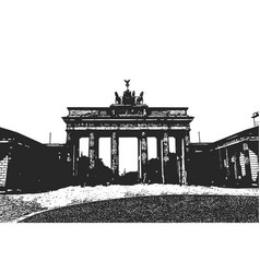 brandenburg gates berlin vintage hand drawn vector image