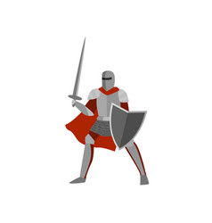 Brave knight in gray metal armor and helmet is vector