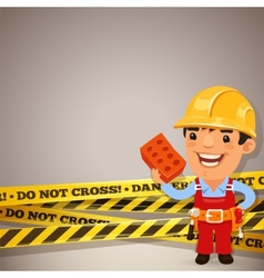 Builder With Danger Tapes vector image