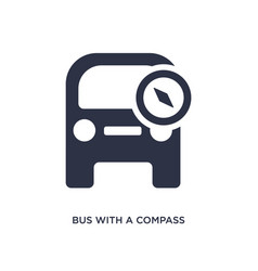 Bus with a compass icon on white background vector