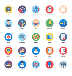 Business document flat icons pack vector