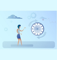 Business woman with clock time management concept vector