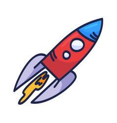 cartoon rocket hand drawn outline cute space vector image