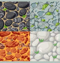 cartoon stones seamless patterns set vector image