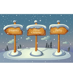 Christmas sign boards on winter background vector
