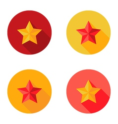 Christmas Yellow and Red Star Flat Set Circle Icon vector image