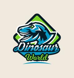 colourful emblem logo label the dinosaur vector image