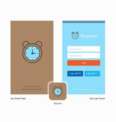 company alarm splash screen and login page design vector image