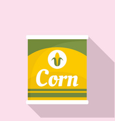 Corn can icon flat style vector
