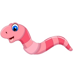 cute worm cartoon smiling vector image