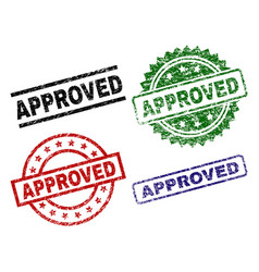 Damaged textured approved stamp seals vector