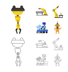 Design robot and factory icon vector