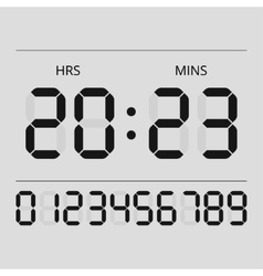 Digital clock and numbers vector