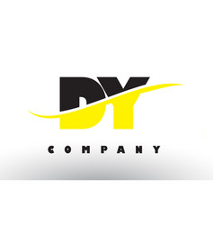Dy d y black and yellow letter logo with swoosh vector
