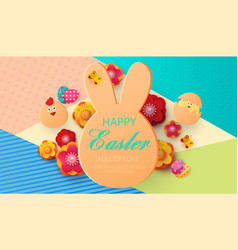 easter icons on colorful modern geometric vector image