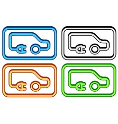 Electric car set vector