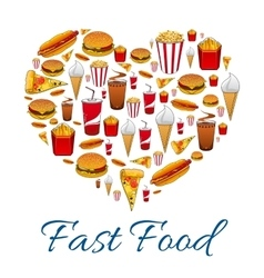 Fast food snacks in heart shape vector image