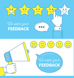 feedback emoticon scale banners vector image