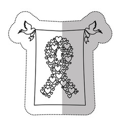 Figure breast cancer hearts and doves icon vector