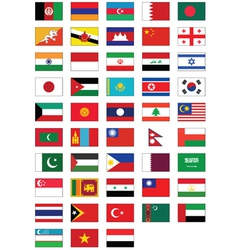 flag set all asian countries vector image