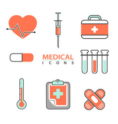 flat medical icons concept set of medical supplies vector image