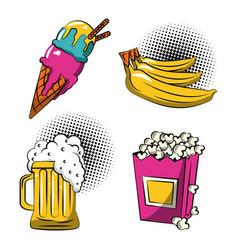 Food icons pop art vector