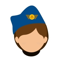 Front face woman flight attendant vector
