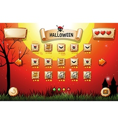 Game template with halloween theme vector