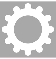 Gear flat white color icon vector
