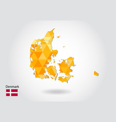 geometric polygonal style map of denmark low poly vector image