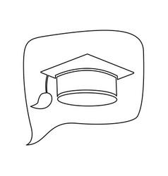 Graduation cap line icon education vector