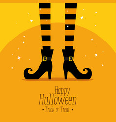 Happy halloween card with witch feets vector