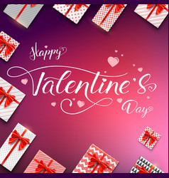happy valentines day calligraphic handwritten vector image