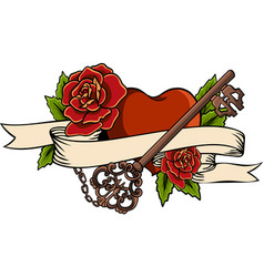 heart entwined in climbing rose tattoo heart vector image