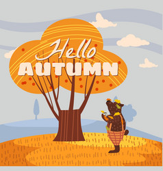 Hello autumn cute bear in pants with a cup hot vector