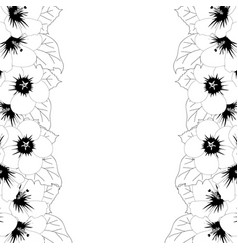 hibiscus syriacus outline - rose of sharon border vector image