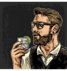 Hipster holding a glass of gin vector